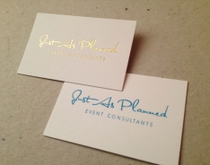 Just As Planned business cards