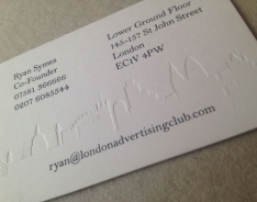 London Advertising Club business cards