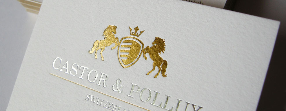 castor & pollux bespoke white gold silver foil business card