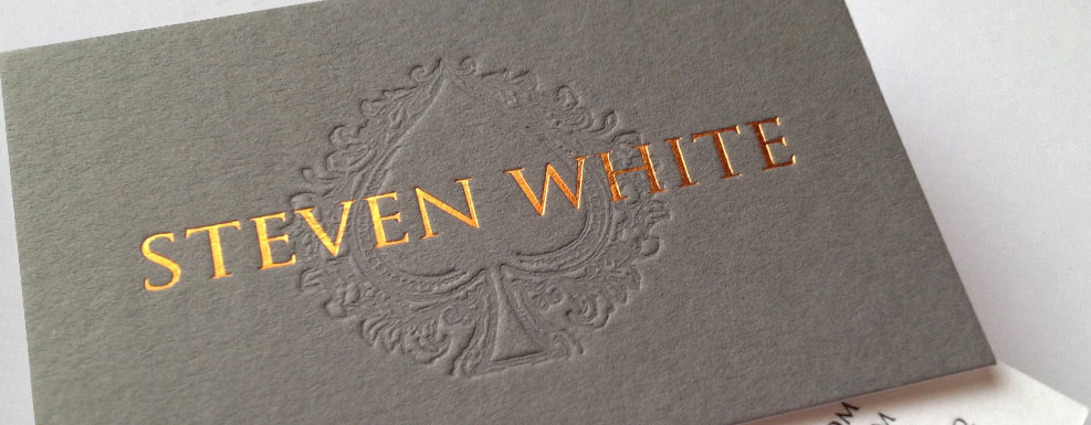 steven white bespoke grey foiled embossed business card