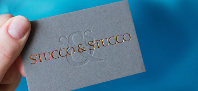 stucco & stucco dark grey textured extra-thick copper foiled business card
