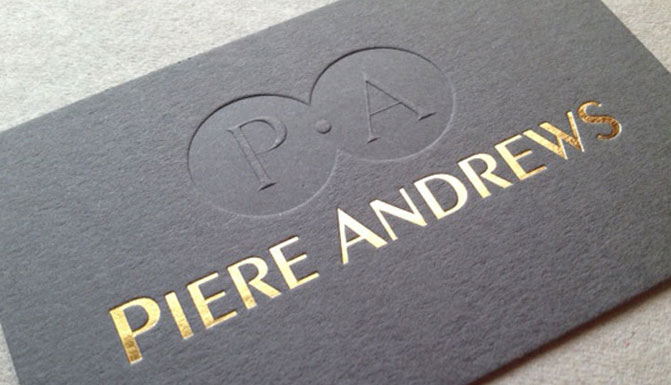 blind debossed or embossed business card