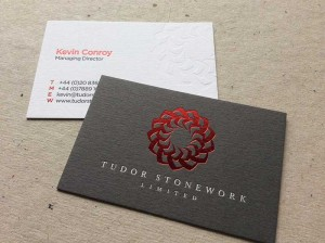 dark grey letterpress debossed red foil business card bespoke