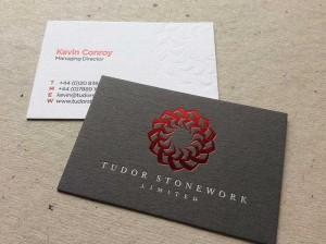 dark grey letterpress debossed red foil business card bespoke