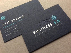 black letterpress foil debossed business card