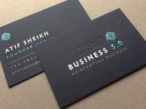black letterpress foil debossed business card