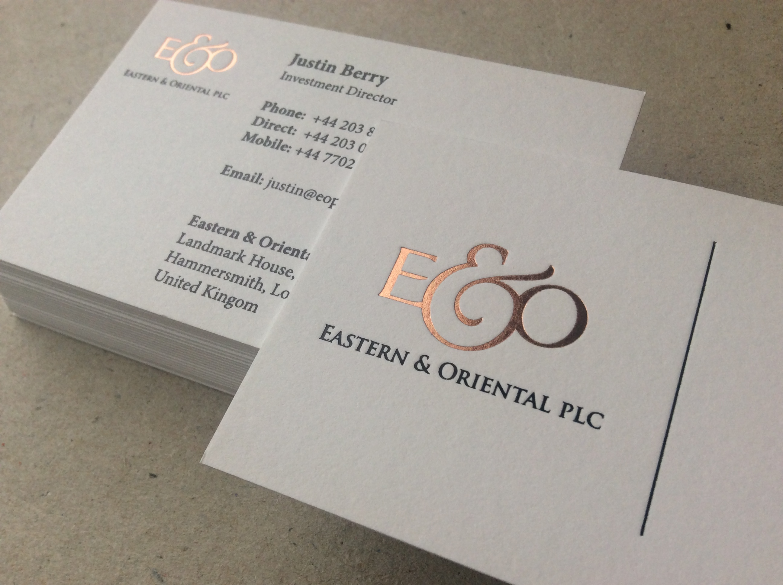 Quality professional business cards ubc rose gold letterpress foil business card reheart Image collections