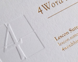bespoke ultra-thick Individual blind embossed foiled white business card