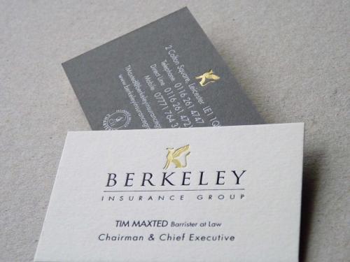 berkeley gold foil embossed business card