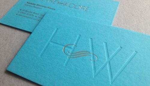 blind debossed or embossed business card