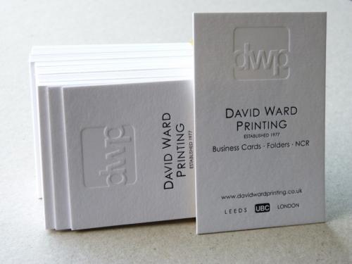 david ward printing blind debossed/embossed foiled thick business card