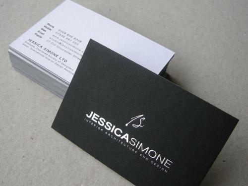 jessica simone white/black duplexed business card, silver foiled