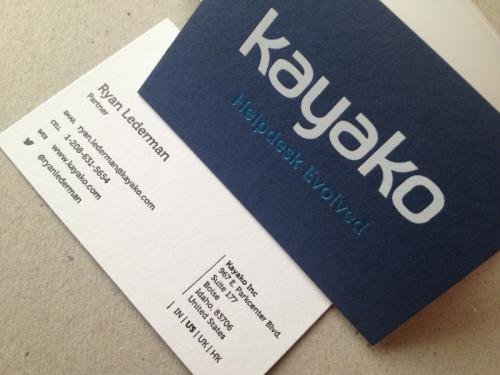 kayako white metallic foiled thick blue business card
