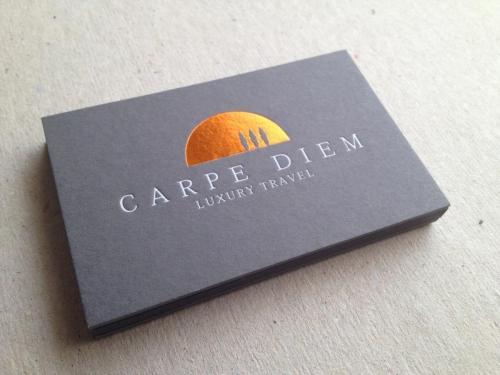 Carpe Diem copper/gold foil business cards, 540gsm textured dark grey card,embossed