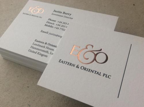 Rose Gold Letterpress Foil Business Card